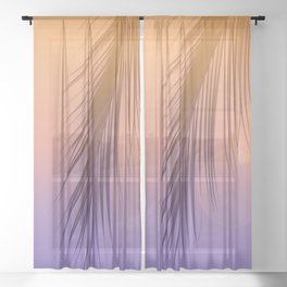 Palm Leaf Silhouette Orange Violet Background #decor #society6 #buyart Sheer Curtain