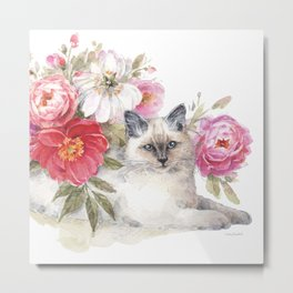 Obviously Pink Cat Metal Print