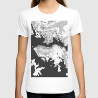 hong kong T-shirts featuring Hong Kong Map Gray by City Art Posters