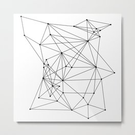 White Geometric Dots and Lines Metal Print