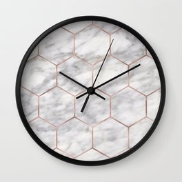 Marble rose gold hexagons Wall Clock