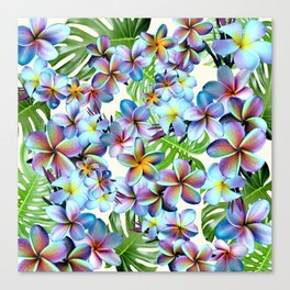 Rainbow Plumeria Pattern Canvas Print
