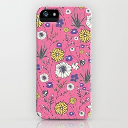 Emma - Wildflowers in Bubble Gum Pink iPhone Case