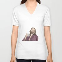 """lebowski V-neck T-shirts featuring Jeffrey """"the Dude"""" Lebowski by NorthLight"""