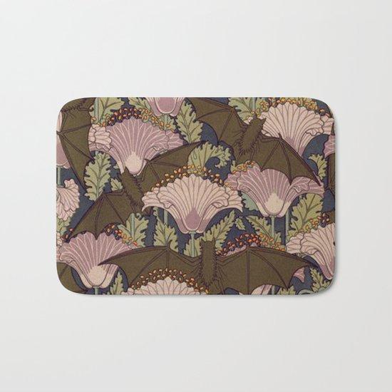 Vintage Art Deco Bat and Flowers Bath Mat