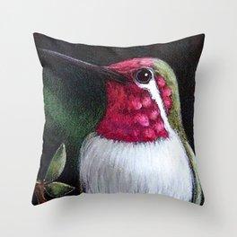 ANNA'S HUMMINGBIRD PAINTING ILLUSTRATION Throw Pillow