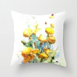 Watercolor yellow dandelion flowers Throw Pillow