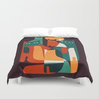 family Duvet Covers featuring Cat Family by Picomodi