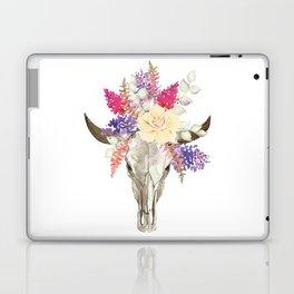 Bohemian bull skull with flowers Laptop & iPad Skin