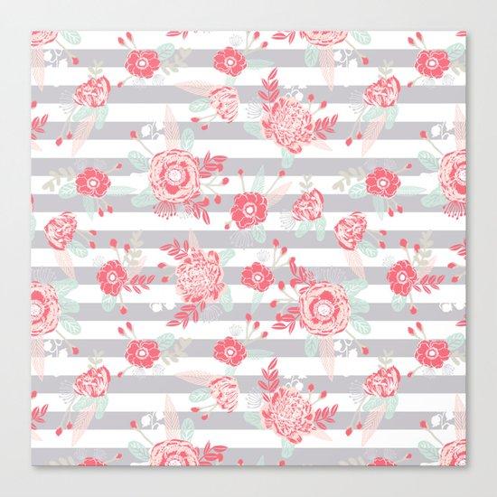 Elli - gender neutral florals grey stripe pattern modern nursery home decor Canvas Print