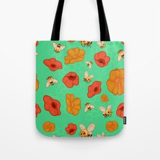 Poppies & Bees Tote Bag