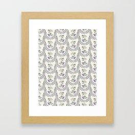 Natural Olive Leaf Berry Birds on Branch Framed Art Print