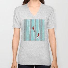 Holiday Forest Cardinals Design Unisex V-Neck