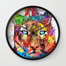 Puma Watercolor Grunge Wall Clock