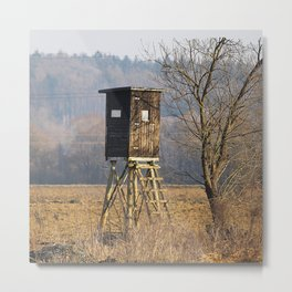 Hunting Deer Stand Near the Woods Metal Print