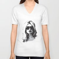 kate moss V-neck T-shirts featuring Kate Moss by Joanna Theresa Heart