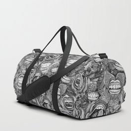 BITE ME roses and orchids BLACK WHITE Duffle Bag