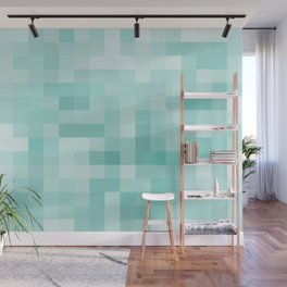 geometric square pixel pattern abstract in green Wall Mural