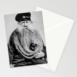 Kitten in the Beard of Old Man black and white photograph Stationery Cards