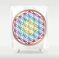 flower of life Shower Curtains featuring the flower of life by Li-Bro