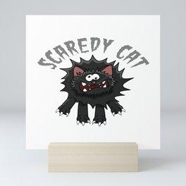 "Happy Halloween Shirt For October November Cat Animals""Scaredy Cat"" T-shirt Design Creepy Spooky Mini Art Print"