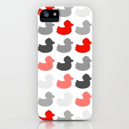 Ducky ducks pattern (red / greyscale edition) iPhone Case