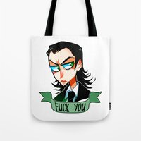 loki Tote Bags featuring Loki by M-chi