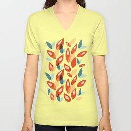 Orange Blue Yellow Abstract Autumn Leaves Pattern Unisex V-Neck