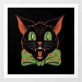 Halloween Hooligan Black Cat Art Print