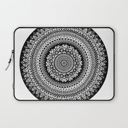 Black and White Radial Mandala Illustration Laptop Sleeve