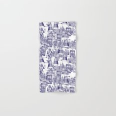 Doctor Who Toile de Jouy | 'Walking Doodle' | Blue Hand & Bath Towel