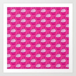Cute Cupcake Pattern - Pink Art Print