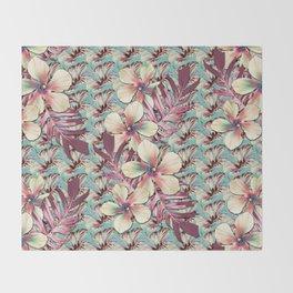 Vintage Hibiscus Ohana Throw Blanket