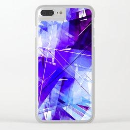 Indigo Chaos - Geometric Abstract Art Clear iPhone Case