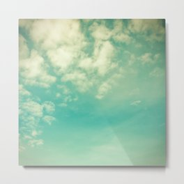 Retro Vintage Blue Turquoise Fall Sky and Clouds Metal Print