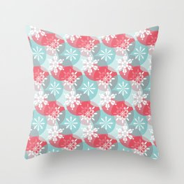 Christmas Snowflakes in Abstract Red and Blue Circles Throw Pillow