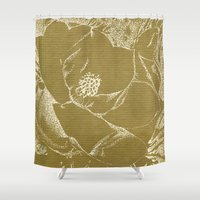 magnolia Shower Curtains featuring Magnolia by Anchobee