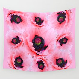 PINK POPPIES COLLAGE Wall Tapestry