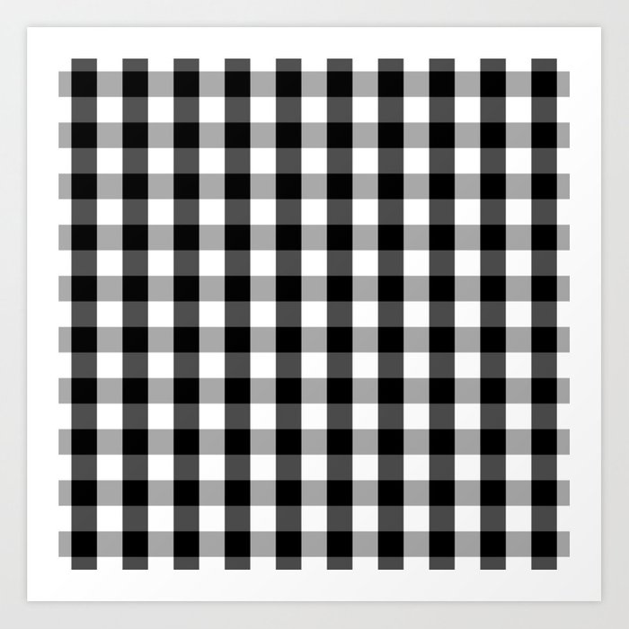 Large Black White Gingham Checked Square Pattern Art Print By