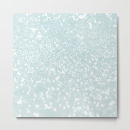 Elegant blush mint green white glam abstract glitter Metal Print