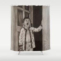 good morning Shower Curtains featuring Good morning! by Amy Fan
