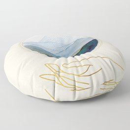 Mountain Watercolor Scene With Golden Moon And Hand Line Art Floor Pillow