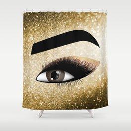 Gold Lashes Eye Shower Curtain
