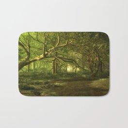Fantasy Forest Painting Green Wood Bath Mat