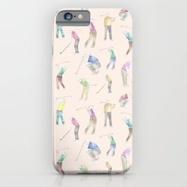 Watercolor Golfers // Antique White iPhone Case