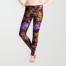 AUBRIETIA AND SEDUM FLORAL ABSTRACT Leggings