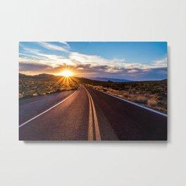 Valley of Fire Sunset Sunburst Metal Print