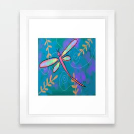 Funky Dragonfly Abstract Digital Painting Framed Art Print