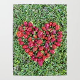 Heart made of strawberries with grass in the background Poster