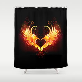 Angel Fire Heart with Wings Shower Curtain